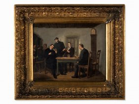 Leopold Till, Card Players, Oil Painting, Austria,