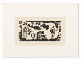 Paul Gauguin, Femmes, Animaux Et Feuillages, Woodcut,