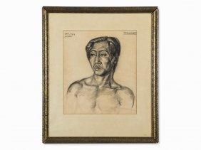 Johan R. Bonnet (1895-1978), Danno, Charcoal Drawing,
