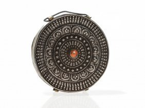 Tibetan Gau Amulet Box With Silver Front And Brass