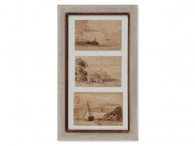 R. Greiffenhagen, Three Drawings, Coastal Landscapes,