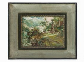Oil Painting, Landscape With Village And Chapel, Ca.