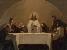 New Sobriety Oil Painting 'last Supper', Austria, 1920s