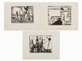 Lyonel Feininger, 3 Woodcuts, Landscapes,
