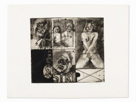 Peter Dworak (born 1949), Etching, 'strip', Austria,