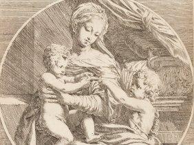 Elisabetta Sirani, Engraving, Madonna & Child & St.