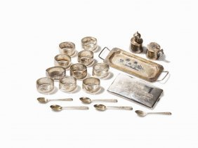 Silver Set With Oriental Sceneries, 19 Pieces, Turkey,