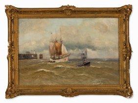Alfred Jensen (1859-1935), Sailboat With Tug, Circa