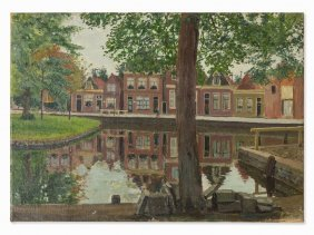 Hans Michaelson (1872-1954), Houses By Canal, Oil, C.