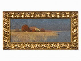 Hans Licht (1876-1935), Lakeside With Farmstead, Oil,
