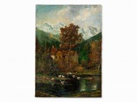 Alois Arnegger, Oil Painting, Forest Lake, C. 1910