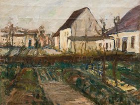 Carl Jörres, Oil Painting Gardens And Houses In Autumn,