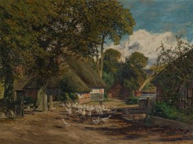 Fritz Stoltenberg (1855-1921), Village Road In Autumn,
