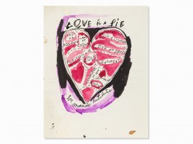 Andy Warhol, Love Is A Pie, India Ink And Watercolor,