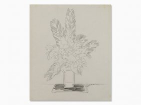 Andy Warhol, Bouquet Of Flowers, Pencil Drawing, C.