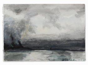 Klaus Fußmann (b. 1938), Lofoten, Watercolor, Norway,