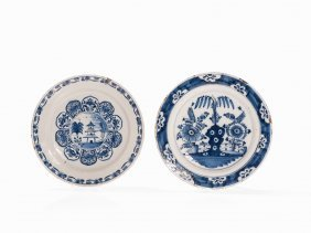 2 Faience Plates With Chinoiserie, Netherlands,