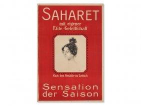 Original Advertising Poster 'saharet', Germany, C. 1900