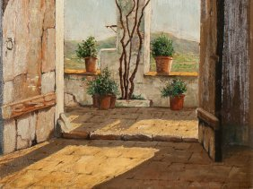 "A. Cardona, Painting ""view From The House,"" Spain, 20th"