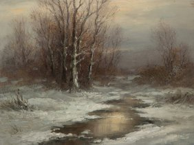 "Oil Painting ""winter Sun"", H. Wiesenhöfer, Mid-20th"