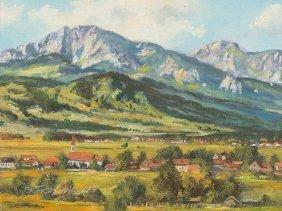 "Painting ""alpine Foothills"", Frühmesser, Late 20th"