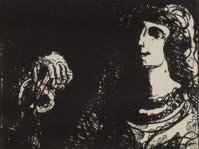 "Lithograph ""chevalier"" By Émile Bernard, France Around"