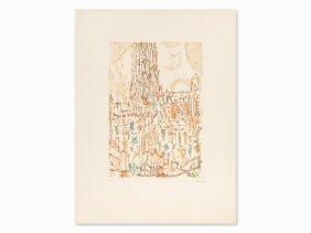 Paul Eliasberg, Lichtkathedrale, Etching In Colors,