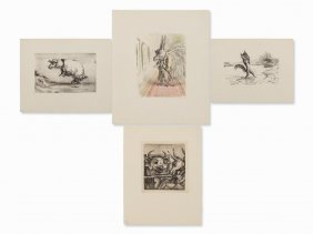 A. Paul Weber, 4 Lithographs, 1960-1978