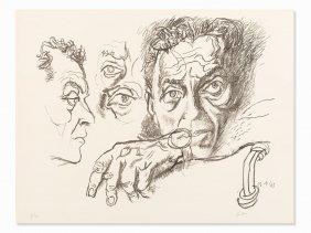 Renato Guttuso, Self Portrait, Lithograph, 1965