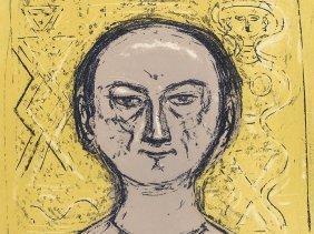 Massimo Campigli, Self-portrait, Color Lithograph, 1965