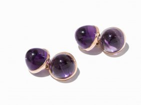 A Pair Of Cufflinks With Amethysts,14k Gold,usa, C.
