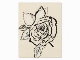 Andy Warhol, Rose, India Ink Drawing, C. 1955