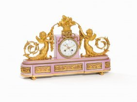 J. Furet, Porcelain Clock With Grotesques, France, C.