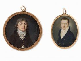 Jean Henri Cless I.a., 2 Empire Miniature Portraits,
