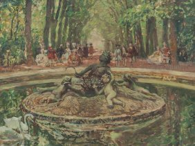 Alois Wierer, Oil Painting, Park With Fountain, 1st