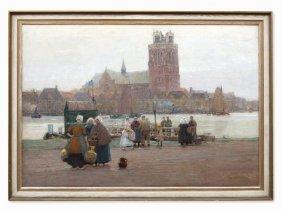 Hans Herrmann, Oil Painting, View Of Dordrecht, 1915
