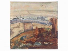 Ernst Reischenböck, Watercolor, Danube Bridge In Linz,