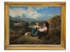 Luise Ebel, Painting, Landscape With Resting Children,