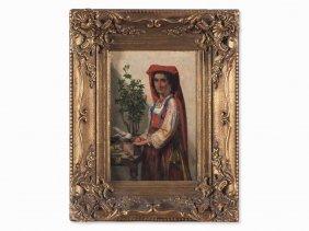 Sipke Kool, Oil Painting, Italian Girl, Italy, 2nd Half