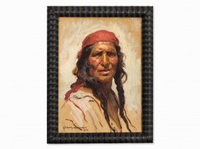 Hans Larwin, Painting, Portrait Of A Native American,