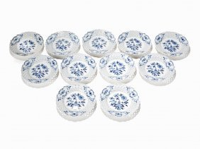 Meissen, 11 Plates With Onion Pattern Cobalt Blue, C.