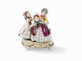 Augarten, Porcelain Figure Group Of 3 Dancing Girls, C.