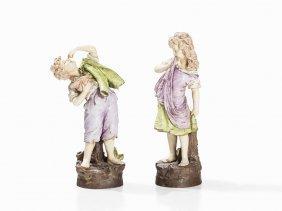 Amphora-werke, Pair Of Large Ceramic Figures, Bohemia,