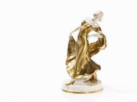 Goldscheider, Dancer, Gilt Ceramic, Stoob, Late 20th C.