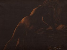 Mascetti, Oil Painting, Sensual Nude From Behind,