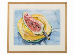 Janet Fish (b. 1938), Watermelon Slice, Watercolor,