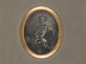 """Daguerreotype """"portrait Of An Officer"""", Around 1850"""