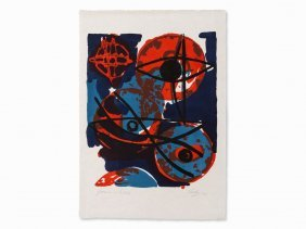 Ernst Wilhelm Nay, Rot Aus Blau, Lithograph In Colors,