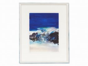 Zao Wou-ki, Untitled (composition In Blue), Aquatint,