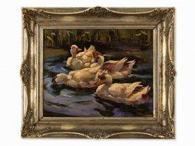 Franz Grel Attributed, 4 Ducks In A Pond, Oil, C.